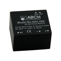 AZC-24S 2 W AC/DC teholähdemoduuli piirikortille; 24 VDC 83 mA