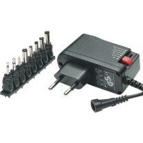 12 W Plug-in mallinen säädettävä AC/DC-teholähde; 3, 5, 6, 7.5, 9 ja 12 VDC 1,8 - 1,0 A NP9825/3-12VDC