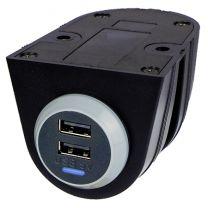 PVPRO-D-ASSY 15 W tasoon kiinnitettävä USB-laturi asennuskotelossa, 9-32/2x5 VDC 2x1,5 A